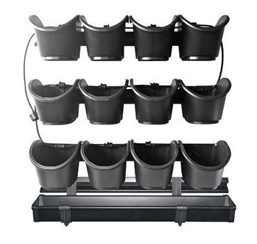 Kit potager vertical - 4 supports mural à fixer, 3 rails de 4 pots carrés de 0,9L, 1 gouttière, système irrigation inclus - H60 x 60 cm