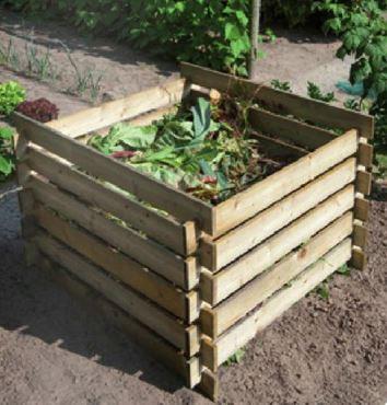 Silo à compost en bois - Pin du nord, classe III, FSC - H70 x 100 x 100 cm