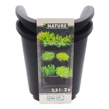 Pots carrés pour kit mur végétal - incl. plaque drainage amovible, 2,5L - H20,5 x 17,5 x 19,5 cm - 2 x