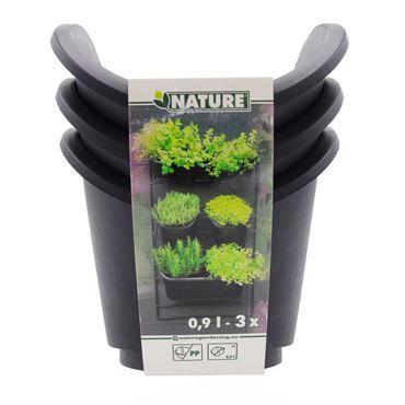 Pots carrés pour kit mur végétal - incl. plaque drainage amovible, 0,9L - H12,5 x 13,7 x 16,5 - 3 x